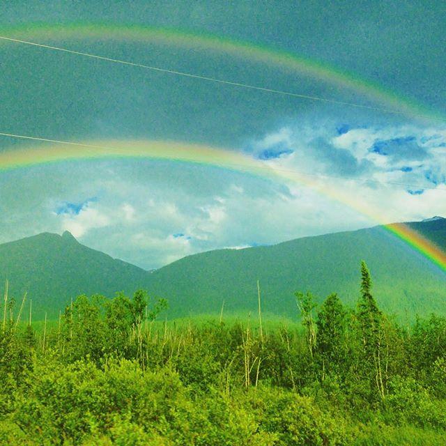 Double rainbows bidding us goodbye to BC #valemount