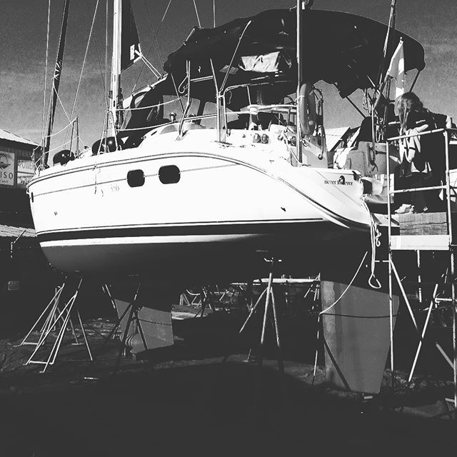 Funny, the boat doesn't roll as much when it's on the hard. Waiting for an inspection in the morning.