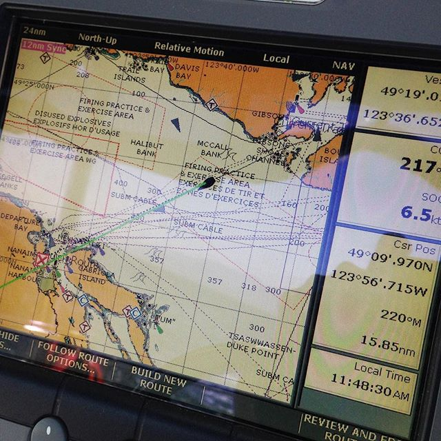 6.5 knots across the Strait on our way to Nanaimo
