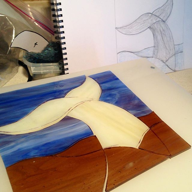 I'm going to call this one Ode to Ahab. :-) #stainedglass #whaletail