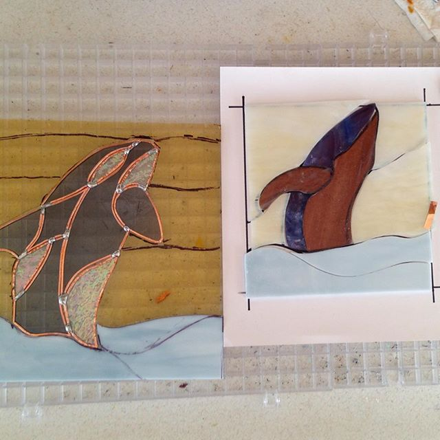 Working in the other end. #stainedglass #whales