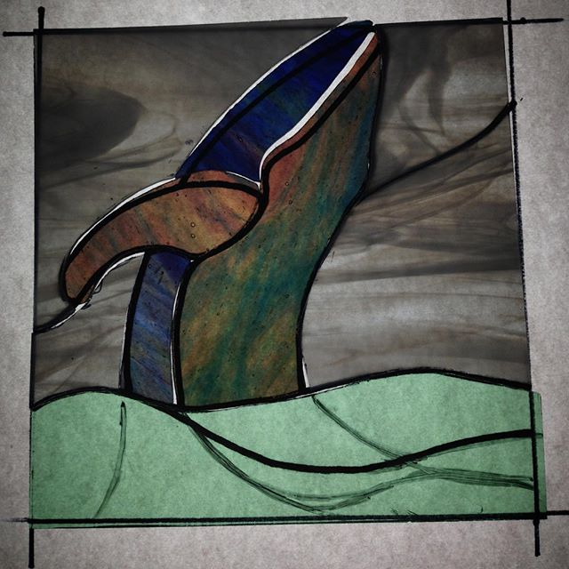 I'm seating to think I'm a bit stuck on whales ?:-) #stainedglass