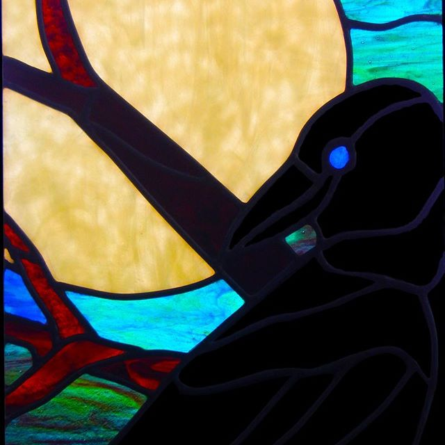 A lead came piece I did for a friend. #stainedglass  #corvidae #crows