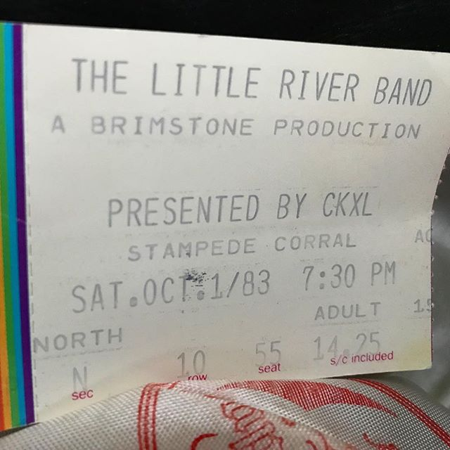Discovered tucked into the brim of a hat I haven't worn for many years. #1983 #littleriverband #awesomeconcert