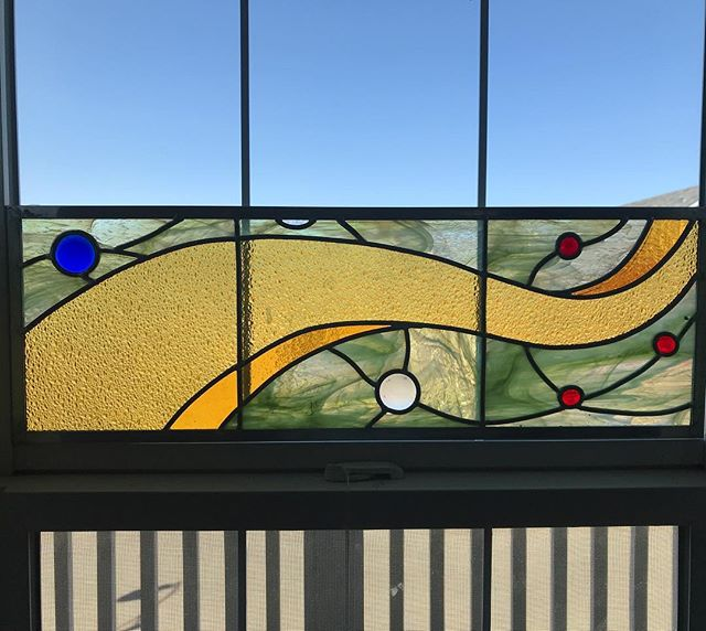Still needs to be mudded but it almost worked out the way I imagined it would. #stainedglass #leadlight #windowtreatments #stainedglasswindow