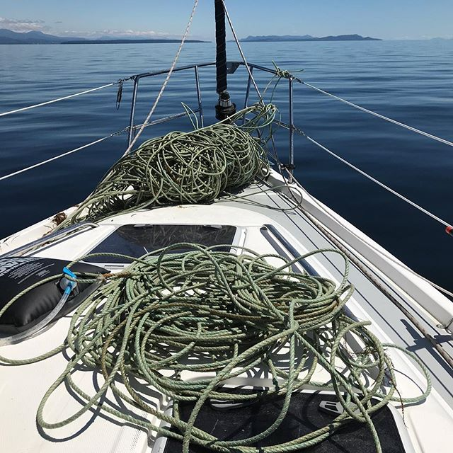 Things you do t want wrapped around your keel in the middle of the Strait of Georgia. #lineforsale