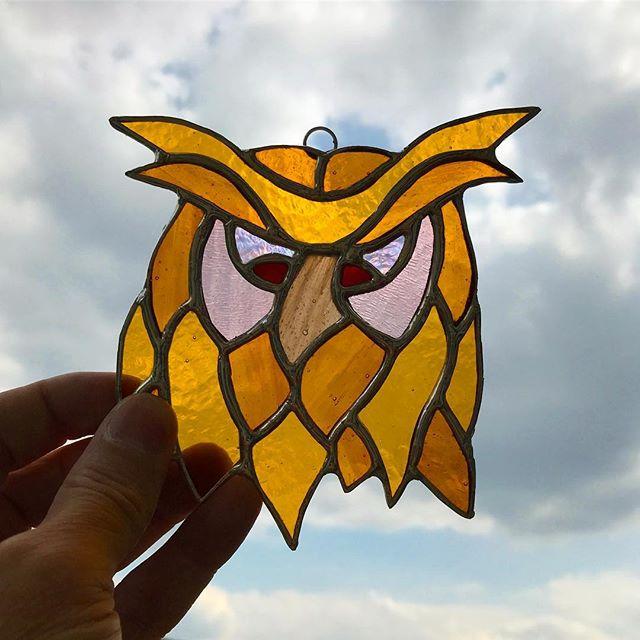 I wonder what he's got to be grumpy about? #owls #stainedglass #copperfoil #birds #birdart