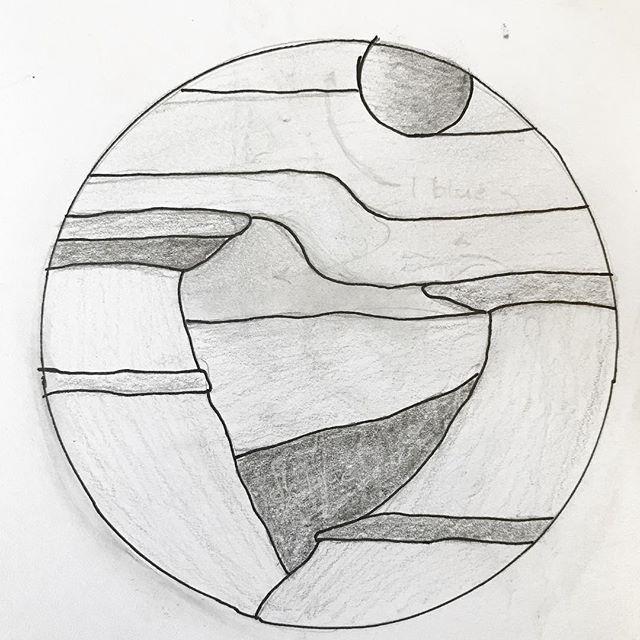 Since we are heading south this weekend, some hoodoos. #drawingaugust #stainedglasspattern