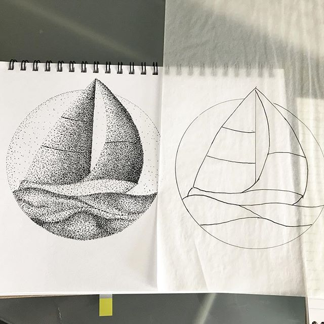 Day 6 of #drawingaugust This time I put a bit of effort into it. A drawing and #stained glass pattern! - #sailing #sailboats #suncatcher #pointalism #lotsofdots