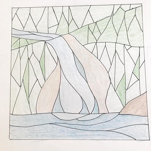 Missed a few days of #drawingaugust as we were away, but here's a preliminary sketch of a pattern of Lacy Falls. #stainedglasspattern
