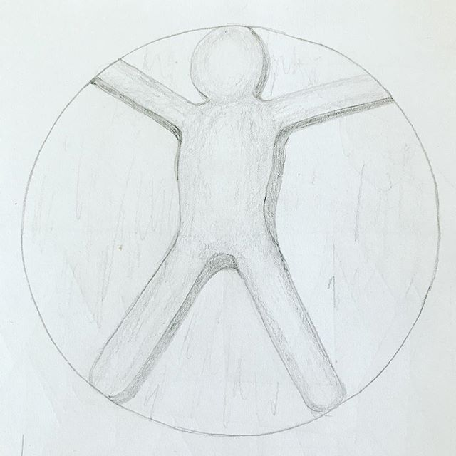 Today's #drawingaugust - I call it Trapped: A Vitruvian Stickman Lol