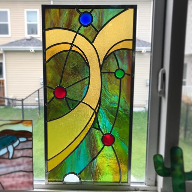 Almost done — my latest leaded piece. #stainedglass #lead #abstractart