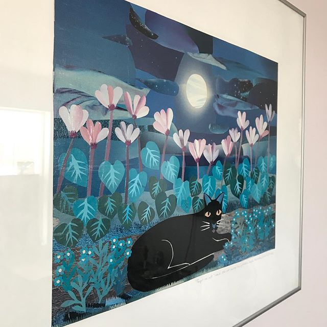 #day2 L has a penchant for collage and acquired these two beauties in 2001. Sylvia Grist is a collage and mixed-media artist originally from France. She has long been involved with Edmonton's French arts community but she seems to have disappeared from the internet. Forget-me-not said the cat among the cyclamen under the moon Madonne aux narcisses Mixed media — Sylvia Grist #31daysofart #art #artists #artwork #beautiful #yeg #yegart #collage #mixedmedia #francophone