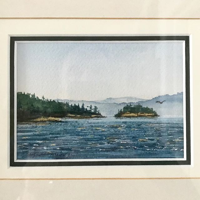 #day14 Several years after our Nfld trip we went sailing on the West Coast for the first time. Canada's two coasts are incredibly similar yet so different at the same time. I picked up this small landscape in Ganges on Saltspring Island and it hangs beside its east coast cousin to remind us of the breadth of this wonderful country. Landscape watercolour — Jacqueline Meredith www.saltspringartistdirectory.com/jacqueline-meredith.html #31daysofart #art #artists #artwork #beautiful #saltspring #saltspringartists #watercolor #painting #seascape #coasttocoast