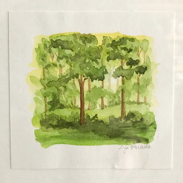 #day12 L's dear friend Gigi painted this miniature as a card, but it was too beautiful to languish in some memento box. So she had it framed and it hangs on the wall in her office of a reminder of their friendship. Trees watercolour — Gigi Meade #31daysofart #art #artists #artwork #beautiful #yeg #yegartists #watercolor #painting #personalgift