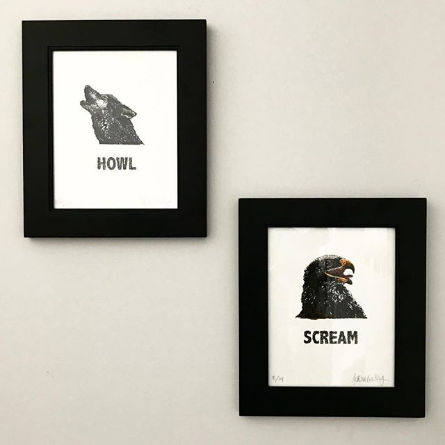 #day15 Jessica is a habitué of craft shows and Etsy, and I love her stuff. These two prints spoke to me so we have them framed and hung on the wall to remind us that we all have a voice. Wolf — Howl (12/14) Eagle — Scream (8/14) prints — Jessica Gowling @naturesmyfriend #31daysofart #art #artists #artwork #beautiful #kamloopartists #prints #printmaking #animals #nature