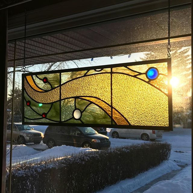 "Always lovely to see one of your pieces in the ""wild."" ##stainedglass #leadlight #abstract"