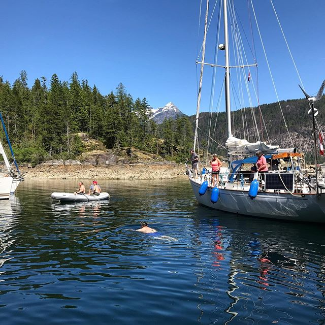 A break from sailing with a quick stop and swim in Pendrell Sound